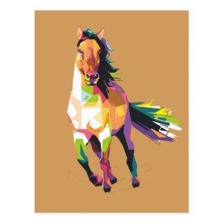 Colorful Running Horse Stallion Equestrian Postcard