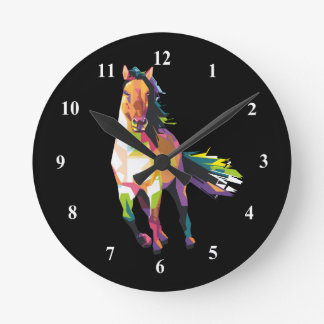 Colorful Running Horse Stallion Equestrian Round Clock