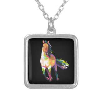 Colorful Running Horse Stallion Equestrian Silver Plated Necklace