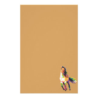 Colorful Running Horse Stallion Equestrian Stationery