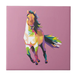 Colorful Running Horse Stallion Equestrian Tile