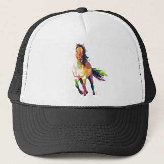 Colorful Running Horse Stallion Equestrian Trucker Hat