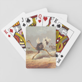 Colorful running ostrich illustration playing card