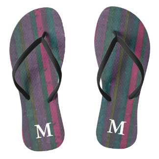 Colorful Rustic Faux Wood Pink Teal Purple Vibrant Flip Flops