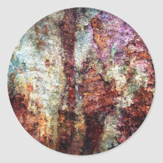 Colorful Rusty Old Wall Texture Round Sticker