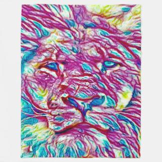 Colorful Sacred Lion Spirit African Wildlife Art Fleece Blanket