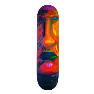 Colorful Sad Surreal Green Lips Two-Face Oil Paint Skateboard Decks