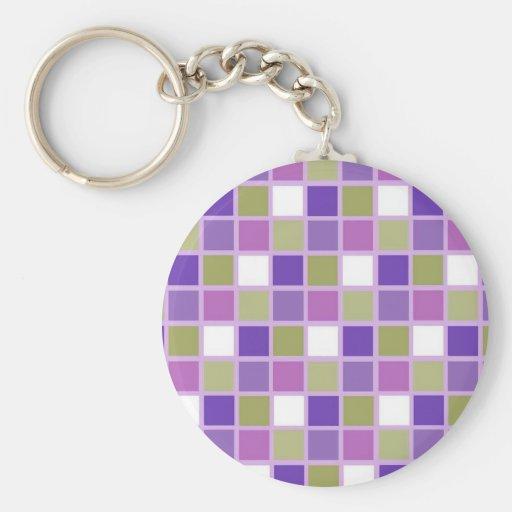 Colorful Sage Green Lavender Purple Tiles Designer Keychain
