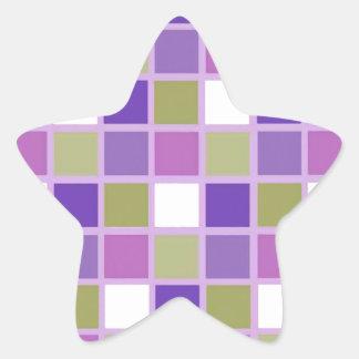 Colorful Sage Green Lavender Purple Tiles Designer Star Sticker