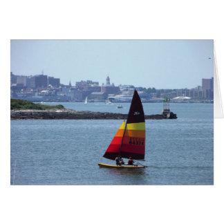 Colorful Sailboat in Portland Harbor Card