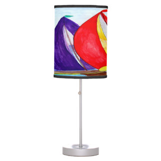 Colorful sailboats nautical table, accent lamp. table lamp