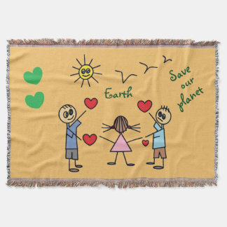 Colorful Save our planet Earth Stick Figure Kids Throw Blanket