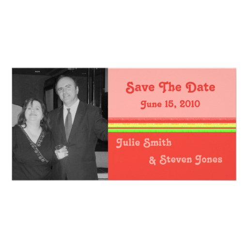 colorful save the date photo greeting card