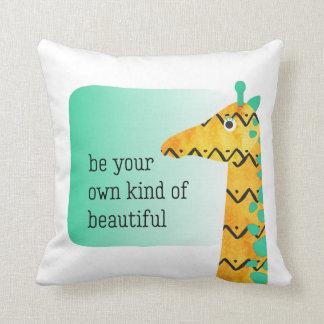 Colorful Scandinavian Style Giraffe Throw Pillow
