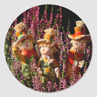 Colorful scarecrows round sticker