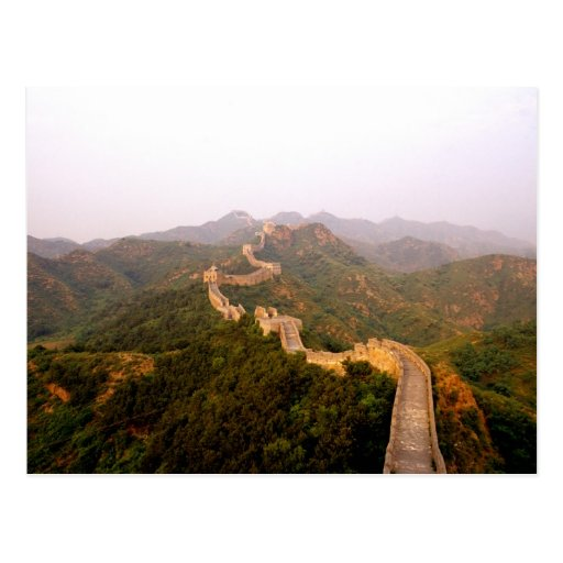 Colorful scenic at the great Wall of China in Postcards