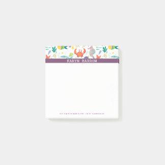 Colorful Sea Animals Purple Stripe Post-it Notes