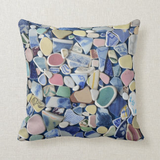 Colorful sea glass beach pottery photo square throw pillow
