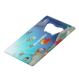 Colorful Sea Life Cartoon Credit Card Bottle Opener
