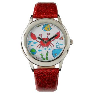 Colorful Sea-life Illustration Pattern Watch