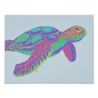 Colorful Sea Turtle Poster