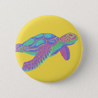 Colorful Sea Turtle with Yellow Background 2 Inch Round Button