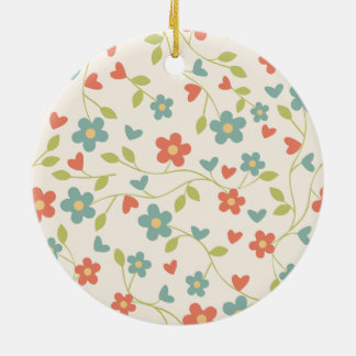 Colorful Seamless Floral Pattern Round Ceramic Ornament