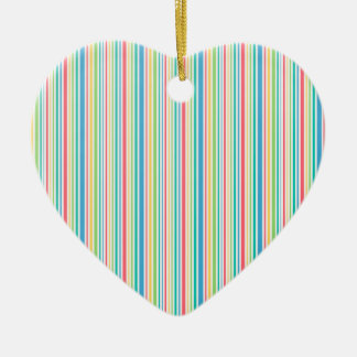 Colorful seamless striped line pattern ceramic heart ornament