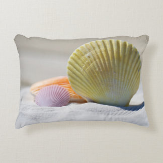 Colorful Seashells in the Sand Accent Pillow