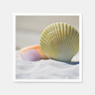 Colorful Seashells in the Sand Paper Napkin