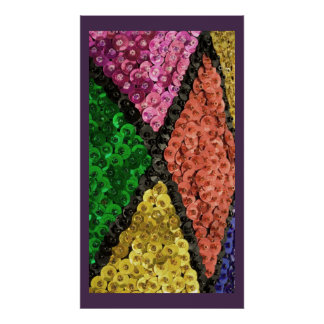 Colorful Sequins Bling Pattern Poster