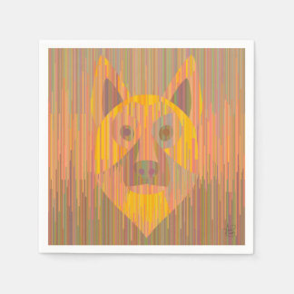 Colorful serious yellow dog napkins paper napkins