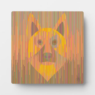 Colorful serious yellow dog plaque