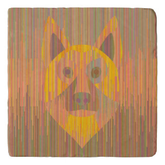 Colorful serious yellow dog trivet