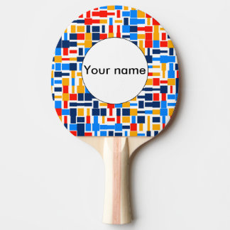 Colorful shapes abstract design Ping-Pong paddle