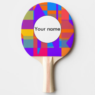 Colorful shapes abstract design ping pong paddle