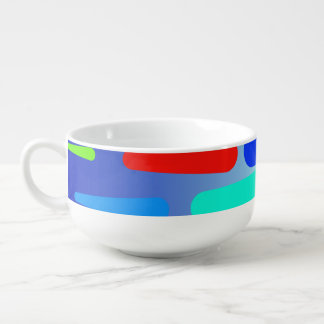 Colorful shapes abstract design soup mug