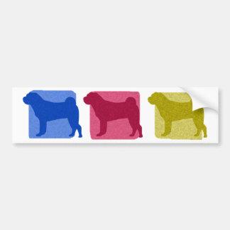 Colorful Shar Pei Silhouettes Bumper Sticker