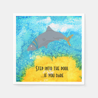 Colorful Shark Turquoise Water Pool Napkin