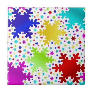 Colorful Shiny Snowflake Pattern Ceramic Tiles