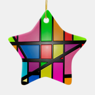Colorful shiny Tiles Ceramic Star Ornament
