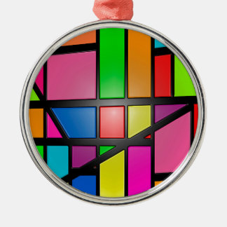 Colorful shiny Tiles Metal Ornament