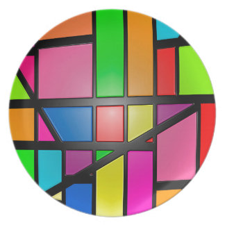 Colorful shiny Tiles Party Plate
