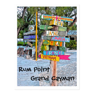 COLORFUL SIGNAGE (COUNTRIES) RUM POINT, GR.CAYMAN POSTCARD