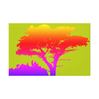 Colorful Silhouette Family Large Tree 1950's Canvas Print