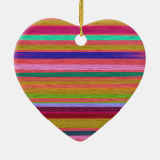 Colorful Silk Stripes Textile Art Design Ceramic Ornament