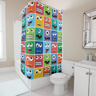 Colorful Silly Monster Face Monsters Pattern Kids