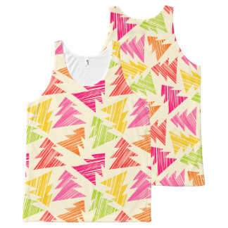 Colorful Sketchy Christmas Trees Pattern All-Over-Print Tank Top