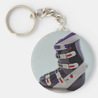 Colorful Ski boot Basic Round Button Keychain