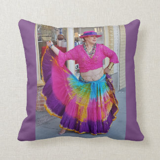 Colorful Skirt Dancer Throw Pillow